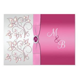 Pink and Silver Monogram Invitation