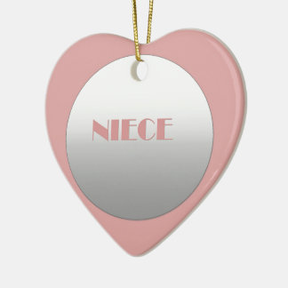 Pink And Silver Niece Ceramic Heart Decoration