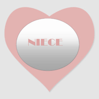 Pink And Silver Niece Heart Sticker