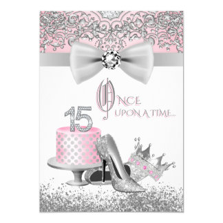 Pink and Silver Quinceanera 13 Cm X 18 Cm Invitation Card