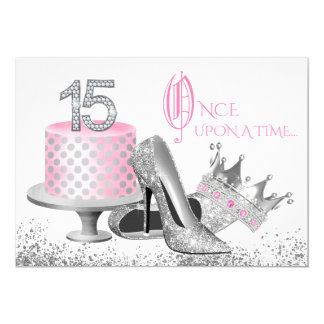 Pink and Silver Quinceanera Invitations
