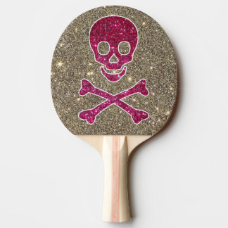 Pink and Silver Skull Glitter Ping Pong Paddle
