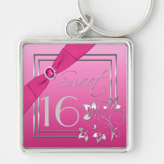 Pink and Silver Sweet Sixteen Keychain