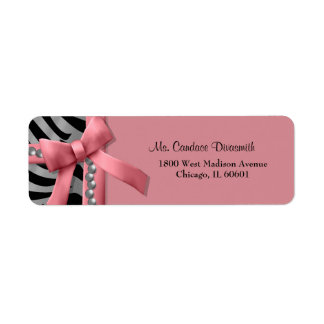 Pink And Silver Zebra Stripe With Silver Pearls