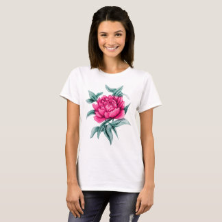 Pink and Sketch Peony T-Shirt