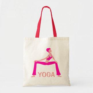 Pink And Skin Tones Yoga Pose Silhouette Budget Tote Bag