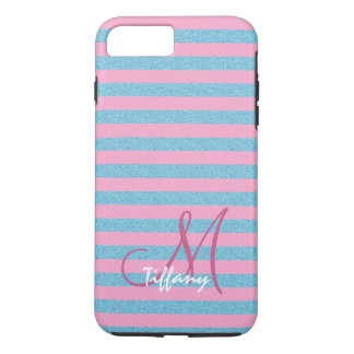 Pink and sky blue aqua glitter stripes monogram iPhone 8 plus/7 plus case