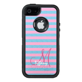 Pink and sky blue aqua glitter stripes monogram OtterBox defender iPhone case