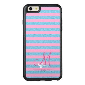 Pink and sky blue aqua glitter stripes monogram OtterBox iPhone 6/6s plus case