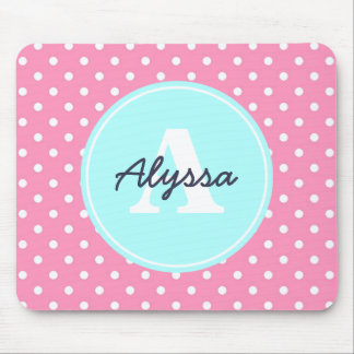 Pink and Sky Blue Dots, Initial, and Name Mouse Pad