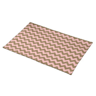 PINK AND TAN CHEVRON PATTERN PLACE MATS