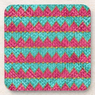 Pink And Teal Basket Weave Hearts Beverage Coasters