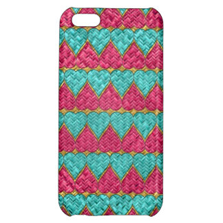Pink And Teal Basket Weave Hearts iPhone 5C Cases