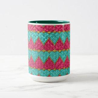 Pink And Teal Basket Weave Hearts Coffee Mug
