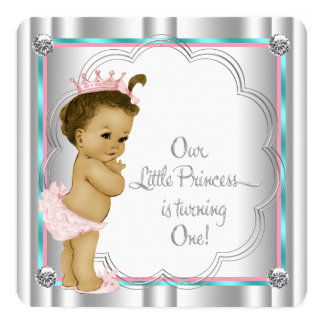 Pink and Teal Blue Princess 1st Birthday Party 13 Cm X 13 Cm Square Invitation Card