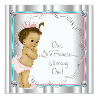 Pink and Teal Blue Princess 1st Birthday Party Custom Invites