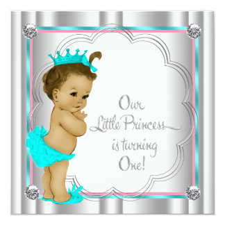 Pink and Teal Blue Princess 1st Birthday Party Custom Announcement