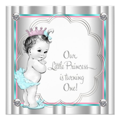 Pink and Teal Blue Princess 1st Birthday Party Custom Invitations