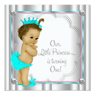 Pink and Teal Blue Princess 1st Birthday Party Personalized Invitation