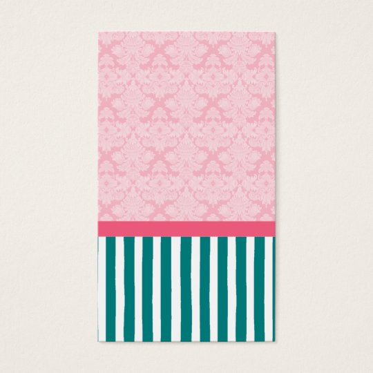 Pink and Teal Brocade Stripe Gift Tag