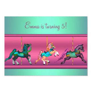 Pink and Teal Carousel Pony Birthday Party Card