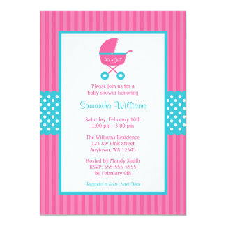 Pink and Teal Carriage Striped Dots Baby Shower 5x7 Paper Invitation Card