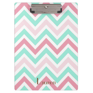 Pink and Teal Chevron Clipboard