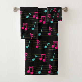 Pink and Teal Colorful Music Notes Print Bath Towel Set