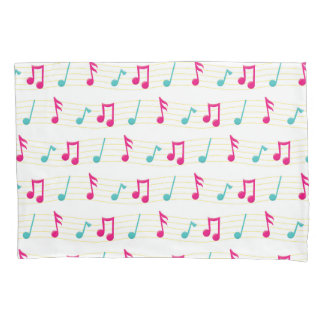 Pink and Teal Colorful Musical Notes Pillowcase