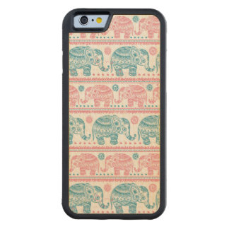 Pink And Teal Ethnic Elephant Pattern Carved Maple iPhone 6 Bumper Case