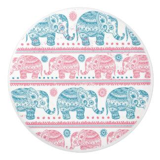 Pink And Teal Ethnic Elephant Pattern Ceramic Knob