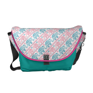 Pink And Teal Ethnic Elephant Pattern Commuter Bag
