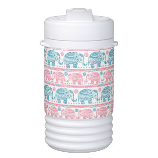 Pink And Teal Ethnic Elephant Pattern Cooler