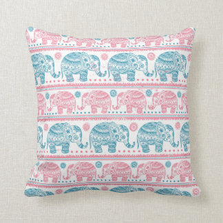 Pink And Teal Ethnic Elephant Pattern Cushion