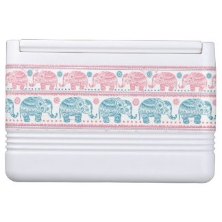 Pink And Teal Ethnic Elephant Pattern Igloo Cool Box