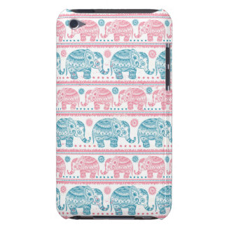 Pink And Teal Ethnic Elephant Pattern iPod Touch Cases
