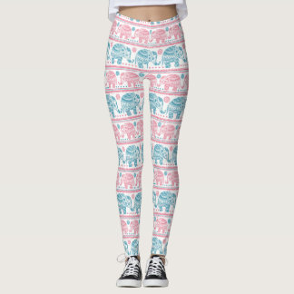 Pink And Teal Ethnic Elephant Pattern Leggings