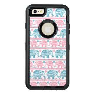 Pink And Teal Ethnic Elephant Pattern OtterBox Defender iPhone Case