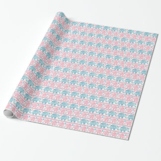 Pink And Teal Ethnic Elephant Pattern Wrapping Paper