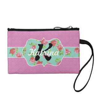 Pink and Teal Floral Monogram on Damask Coin Purse