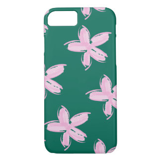 Pink and Teal Floral Pattern iPhone Case