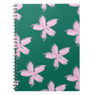 Pink and Teal Floral Pattern Notebook