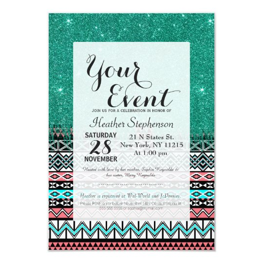 Pink and Teal Modern Aztec with Faux Teal Glitter Card