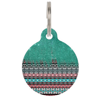 Pink and Teal Modern Aztec with Faux Teal Glitter Pet Name Tag