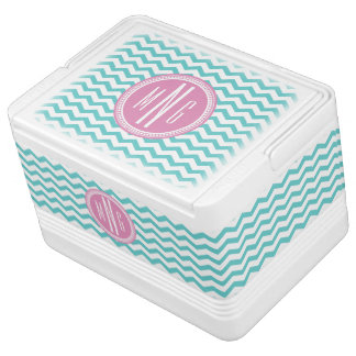 Pink and Teal Monogram Chevron Monogrammed Igloo Cooler