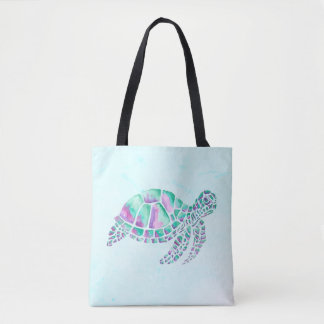 Pink and Teal Sea Turtle on Blue Tote Bag