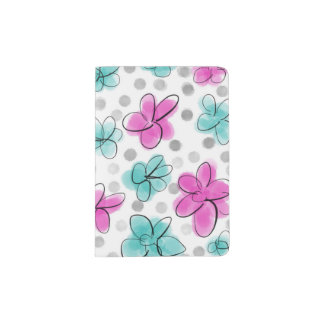 Pink and Teal Watercolor Flower Polka Dot Sketch Passport Holder