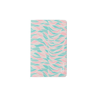 Pink and Teal Waves Monogrammed Moleskin Notebook