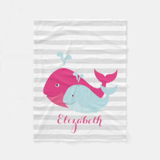 Pink and Teal Whale Pals Fleece Blanket