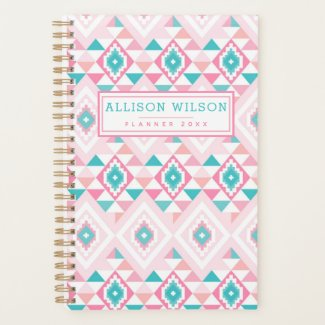 Pink and Turqoise Aztec Pattern Planner
